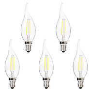 cheap LED Filament Bulbs-BRELONG® 5pcs 2W 200 lm E14 LED Filament Bulbs C35 2 leds COB Dimmable Warm White White AC 220-240V