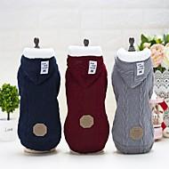 abordables Disfraces de Navidad para mascotas-Perro Abrigos Saco y Capucha Navidad Ropa para Perro Un Color Gris Rojo Azul Tejido de lana Felpa Terileno Disfraz Para mascotas