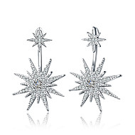 Women's Luxury Rhinestone Rhinestone Silver Plated Drop Earrings - Luxury Geometric Classic Multi-ways Wear Simple Style Circle Geometric