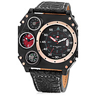 Men's Unique Creative Watch Sport Watch Military Watch Chinese Quartz Calendar / date / day Dual Time Zones Leather Band Cool Black Khaki