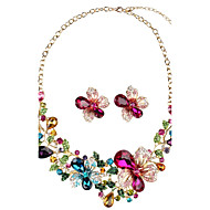 cheap Floral Jewelry-Women's Synthetic Diamond Geometric Jewelry Set - Floral / Botanicals, Flower Personalized, Luxury, Vintage Include Stud Earrings Necklace Rainbow For Party Gift Daily
