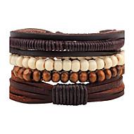 ieftine Bijuterii&Ceasuri-Bărbați Piele Bratari Wrap Bratari Strand - Personalizat Confecționat Manual Modă Rotund Maro Brățări Pentru Stradă