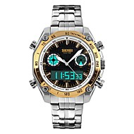 Недорогие Фирменные часы-SKMEI Муж. Наручные часы Японский Будильник / Календарь / Секундомер PU Группа Мода Серебристый металл / Защита от влаги / Хронометр / Фосфоресцирующий