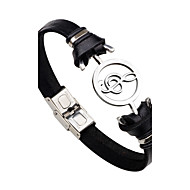 Men's Women's Stainless Steel Leather Music Notes Leather Bracelet - Personalized Fashion Rock Black Brown Bracelet For Gift Stage Club