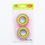 お買い得  ステッカー&テープ-2個/キャンディ色の虹の紙テープをセット
