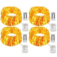 cheap LED String Lights-4 Pack Fairy Lights Fairy String Lights Battery Operated Waterproof 8 Modes 200LED 20M String Lights Copper Wire Firefly Lights Remote Control