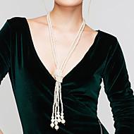Жен. Жемчужные ожерелья Пряди Ожерелья длинное ожерелье Круглый Жемчуг Искусственный жемчуг бижутерия Elegant Многослойный Бижутерия
