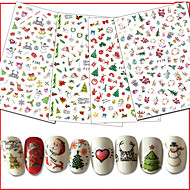 10pcs/Set Hot Happy Xmas Mix Colorful Decals Cute Santa Claus Elk Christmas Tree DIY Nail Art Sticker 3D Decoration Xmas Gift Manicure Beauty F271-280