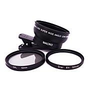 Handy-Objektiv Objektiv mit Filter Weitwinkelobjektiv Makro-Objektiv Aluminium Legierung 10x und höher 62