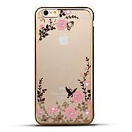 用途 iPhone 6 iPhone 6 Plus ケース カバー ラインストーン メッキ仕上げ 超薄型 パターン バックカバー ケース フラワー ソフト TPU のために Apple iPhone 6s Plus iPhone 6 Plus iPhone 6s