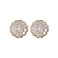 Női Beszúrós fülbevalók utánzat Diamond luxus ékszer Csing Csing Strassz Round Shape Flower Shape Ékszerek Kompatibilitás Esküvő Parti