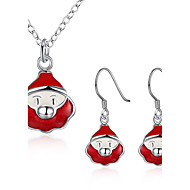 Жен. Серьги-слезки Ожерелья с подвесками Рождество Серебрянное покрытие Животный принт Ожерелья Серьги