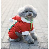 billige -Hund Frakker Hettegensere Kjeledresser Hundeklær Fritid/hverdag Vandtæt Hold Varm Jul Snøfnugg Rød Kostume For kjæledyr