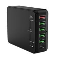abordables Cargadores USB-Cargador usb QC61 6 Estación de cargador de escritorio Con carga rápida 3.0 Enchufe USA Enchufe UE Enchufe UK Enchufe AU Adaptador de