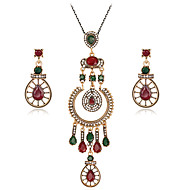 Women's Crystal Jewelry Set - Crystal, Rhinestone Drop Luxury, Fashion Include Stud Earrings / Necklace Red For Party