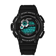 preiswerte -Herrn Armbanduhr Einzigartige kreative Uhr Digitaluhr Japanisch digital Kalender Wasserdicht leuchtend Stopuhr Silikon Band Cool Schwarz