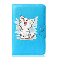 preiswerte Tablet Zubehör-Hülle Für Ganzkörper-Gehäuse Tablet-Hüllen Muster Katze Hart PU-Leder für