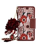 Недорогие Чехлы и кейсы для Galaxy S7-Кейс для Назначение SSamsung Galaxy S8 Plus S8 Бумажник для карт Кошелек со стендом Флип Магнитный С узором Чехол Цветы Твердый Кожа PU