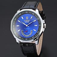 WINNER Herrn Kleideruhr Armbanduhr Mechanische Uhr Automatikaufzug Kalender Leder Band Luxus Freizeit Schwarz