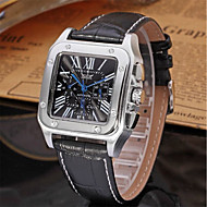 cheap Jewelry & Watches-Jaragar Men's Casual Watch Fashion Watch Dress Watch Automatic self-winding 20 m Cool Leather Band Analog Casual White Black / Stainless Steel