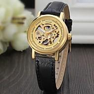 お買い得  機械式腕時計-WINNER 女性用 ドレスウォッチ リストウォッチ ファッションウォッチ 自動巻き 透かし加工 レザー バンド ヴィンテージ カジュアル Elegant ブラック