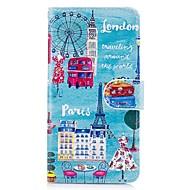 Кейс для Назначение Apple iPhone X iPhone 8 Plus Бумажник для карт Защита от удара со стендом С узором Чехол Пейзаж Эйфелева башня Твердый
