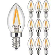 저렴한 -10 개 2W LED필라멘트 전구 2 LED가 COB 따뜻한 화이트 150lm 3000K AC 220-240V