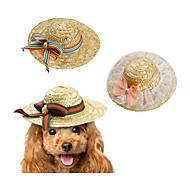 Cat Dog Bandanas & Hats Dog Clothes New Bow Braided/Cord Leisure Bowknot Rainbow Pink Green