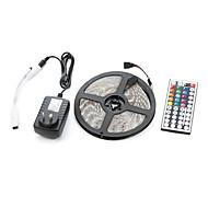 voordelige LED-verlichtingsstrips-5m 300smd 5050 waterdicht 44keys ir afstandsbediening 12v3a stroomvoorziening geleid strip licht sets ac100-240v