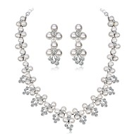 cheap -Women's Jewelry Set Imitation Pearl, Zircon, Silver Plated Leaf, Flower Ladies, Elegant Include Silver For Wedding Evening Party / Earrings