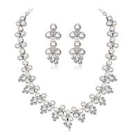 billige -Dame Smykkesæt Imiteret Perle, Zirkonium, Sølvbelagt Bladformet, Blomst Damer, Elegant Omfatte Sølv Til Bryllup Aftenselskab / Øreringe