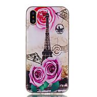 Недорогие Кейсы для iPhone 8-Кейс для Назначение Apple iPhone X iPhone 8 Ультратонкий С узором Кейс на заднюю панель Цветы Эйфелева башня Мягкий ТПУ для iPhone X