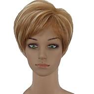 お買い得  -人工毛ウィッグ ストレート ブロンド ピクシーカット 合成 サイドパート ブロンド かつら 女性用 ショート キャップレス ブロンド