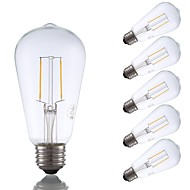 preiswerte -GMY® 6pcs 2W 220 lm E26 LED Glühlampen ST19 2 Leds COB Abblendbar Edison-Birne Dekorativ LED-Lampe Warmes Weiß Wechselstrom 110-130V