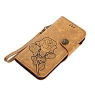 Недорогие Чехлы и кейсы для Galaxy A5(2016)-Кейс для Назначение SSamsung Galaxy A5(2017) A3(2017) Бумажник для карт Кошелек со стендом Флип Магнитный С узором Чехол Цветы Твердый