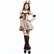 Reindeer Cosplay Costumes Female Christmas Festival / Holiday Halloween Costumes Beige Color Block