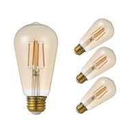 お買い得  -GMY® 4本 3.5W 300lm E26 フィラメントタイプLED電球 ST21 4 LEDビーズ COB 調光可能 エジソン球根 装飾用 LEDライト 温白色 110-130V