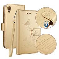 preiswerte Handyhüllen-Hülle Für Sony Xperia XA1 Kreditkartenfächer Geldbeutel mit Halterung Flipbare Hülle Geprägt Ganzkörper-Gehäuse Schmetterling Hart