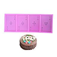お買い得  キッチン用小物-ポーカーのシリコンケーキ金型トランプカードクッキーチョコレートフォンダンキッチンベーキングツール
