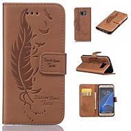 Недорогие Чехлы и кейсы для Galaxy S7 Edge-Кейс для Назначение SSamsung Galaxy S7 edge S7 Бумажник для карт Кошелек со стендом Флип Рельефный  Перья Твердый для