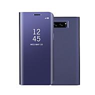 Недорогие Чехлы и кейсы для Galaxy Note 8-Кейс для Назначение SSamsung Galaxy Note 8 Note 5 со стендом Зеркальная поверхность Флип Авто Режим сна / Пробуждение Чехол Сплошной цвет