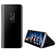 Недорогие Чехлы и кейсы для Galaxy A7(2017)-Кейс для Назначение SSamsung Galaxy A8 2018 A8 Plus 2018 со стендом Зеркальная поверхность Флип Авто Режим сна / Пробуждение Чехол