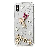 Недорогие Кейсы для iPhone 8-Кейс для Назначение Apple iPhone X iPhone 8 Plus Стразы С узором Чехол Цветы Твердый Кожа PU для iPhone X iPhone 8 Pluss iPhone 8 iPhone