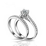 Par Diamant Kvadratisk Zirconium Parringe indpakning ring Mode Moderinge Smykker Hvid Til Bryllup Gave Maskerade Forlovelsesfest Skolebal Valentine 6 / 7 / 8 / 9 / 10 2pcs