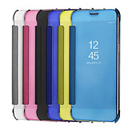Недорогие Чехлы и кейсы для Galaxy Note-Кейс для Назначение SSamsung Galaxy Note 8 Note 5 Покрытие Зеркальная поверхность Флип Сплошной цвет Твердый для