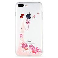 Недорогие Кейсы для iPhone 8-Кейс для Назначение Apple iPhone 6 iPhone 7 Стразы Рельефный Кейс на заднюю панель Цветы Эйфелева башня Мультипликация Мягкий ТПУ для