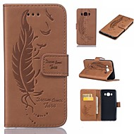 Недорогие Чехлы и кейсы для Galaxy J5(2016)-Кейс для Назначение SSamsung Galaxy J5 (2016) Бумажник для карт Кошелек со стендом Флип Рельефный  Перья Твердый для