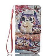 Недорогие Чехлы и кейсы для Galaxy A3(2016)-Кейс для Назначение SSamsung Galaxy A5(2017) A3(2017) Бумажник для карт Кошелек со стендом Флип Магнитный С узором Чехол Сова Твердый
