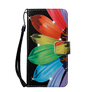 Недорогие Кейсы для iPhone 8 Plus-Кейс для Назначение Apple iPhone 8 iPhone 8 Plus Кошелек Бумажник для карт Стразы со стендом С узором Чехол Цветы Твердый Искусственная