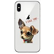 Недорогие Кейсы для iPhone 8-Кейс для Назначение Apple iPhone X iPhone 8 Ультратонкий Прозрачный С узором Кейс на заднюю панель С собакой Мягкий ТПУ для iPhone X